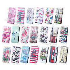 For iPhone Samsung PU Leather Luxury Painted Design Flip Wallet Stand Case Cover