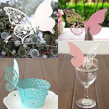 Lots DIY Cute Butterfly Wedding Wine Glass Table Invitation Gift Place Name Card