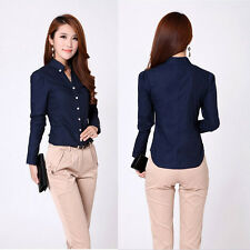Elegant Women Career Shirts Size S-2XL Long Sleeve Button Design Blouse H1299