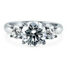 BERRICLE Sterling Silver Round Cut CZ 3-Stone Engagement Ring 3.15 Carat
