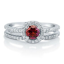 BERRICLE 925 Silver 0.735 Carat Red Swarovski Zirconia Halo Engagement Ring Set