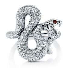 BERRICLE Sterling Silver Swarovski Zirconia Snake Right Hand Cocktail Ring
