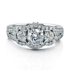 BERRICLE Sterling Silver CZ 3-Stone Halo Engagement Split Shank Ring 1.74 Carat