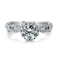 Silver 1.52 CT Swarovski Zirconia Solitaire Art Deco Promise Engagement Ring