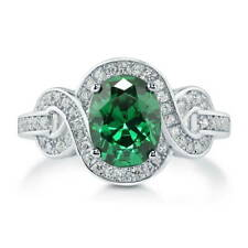 Silver Oval Simulated Emerald CZ Solitaire Woven Engagement Ring 2.12 CT