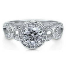 BERRICLE Sterling Silver Round Cut CZ Halo Art Deco Engagement Ring 1.39 Carat