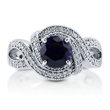 BERRICLE Sterling Silver Simulated Blue Sapphire CZ Woven Art Deco Wedding Ring