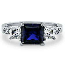 Silver 3.13 CT Princess Simulated Sapphire CZ 3-Stone Promise Engagement Ring
