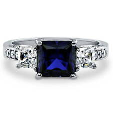 BERRICLE Silver Princess Simulated Sapphire CZ 3-Stone Engagement Ring 3.13 CTW