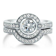 BERRICLE Sterling Silver Round CZ Art Deco Halo Engagement Ring Set 1.36 Carat