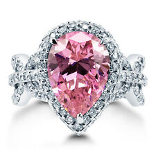 BERRICLE Sterling Silver Pear Pink CZ Halo Art Deco Right Hand Cocktail Ring