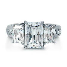 BERRICLE Sterling Silver 5.42 Carat Emerald Cut CZ 3-Stone Engagement Ring
