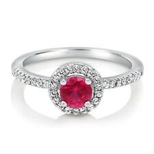 BERRICLE 925 Silver Simulated Ruby CZ Halo Promise Engagement Ring 0.63 Carat
