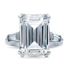 BERRICLE Sterling Silver 8.72 Carat Emerald Cut CZ 3-Stone Engagement Ring