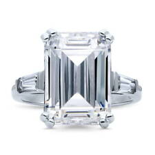 BERRICLE Sterling Silver Emerald Cut CZ 3-Stone Engagement Ring 8.72 Carat