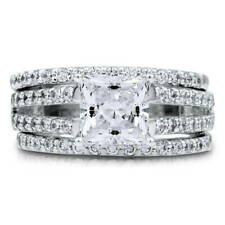 BERRICLE Silver Princess CZ Solitaire Engagement Split Shank Ring Set 2.87 Carat