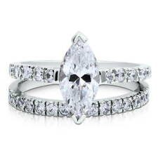 BERRICLE Sterling Silver Marquise CZ Solitaire Engagement Ring Set 2.22 Carat