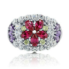 BERRICLE Sterling Silver Simulated Ruby CZ Flower Fashion Cocktail Ring