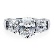 BERRICLE Sterling Silver Oval Cut CZ 3-Stone Engagement Ring 3.002 Carat
