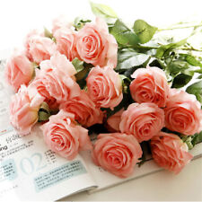 10-20 Head Real Touch Latex Rose Flowers For wedding Bouquet Decoration 6 Colors