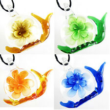 Fashion Hot Charming Cute Snail Shape With Flower Murano Glass Pendant Necklace