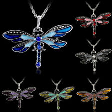 fashion Dragonfly Charms Enamel Necklace Chain Crystal Rhinestone Wing Pendant