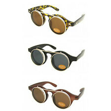 Retro 50's 80's Flip Up Round Lens Sunglasses Tortoiseshell Black Steampunk