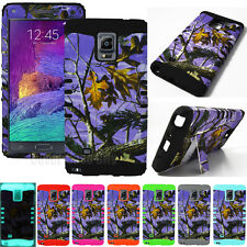 Hybrid 2 in 1 Phone Case for Samsung Galaxy Note 4 Cover Branch Tree Camo Purple