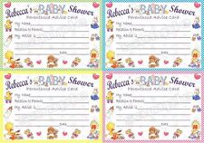 10 Personalised Baby Shower Game cards and Invitations - multiple options