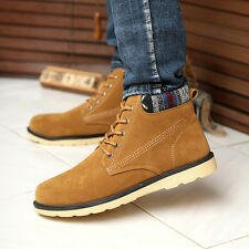 Mens Winter Casual Leather Lace up High Top Loafers Shoes Ankle Boots Sneakers