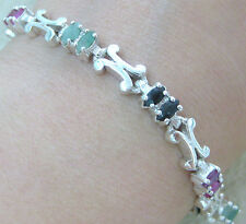 """925 STERLING SILVER real GENUINE Ruby Sapphire Emerald SOLID """"X"""" design BRACELET"""