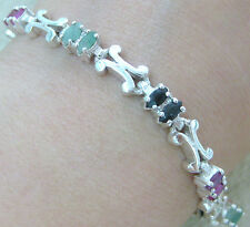 "925 STERLING SILVER real ""RUBY SAPPHIRE EMERALD"" SOLID ""X"" design BRACELET -GIRL"
