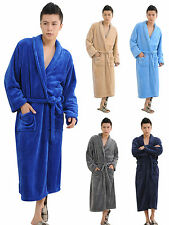 Men Winter Soft Fleece Long Bath Robe Dressing Gown Housecoat Wrap SPA Robe