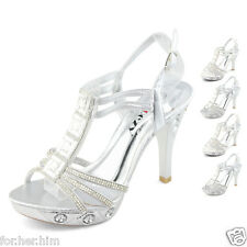 ladies bukle diamantes silver high heels womens white platform shoes online sexy
