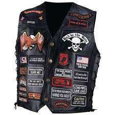 Leather Biker Motorcycle Vest w/42 Patches, USA, NEW