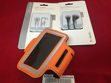 ORANGE RUNNING ARMBAND POUCH CASE & OEM HEADPHONE MIC FOR IPHONE 5 5C 5S 4S 4