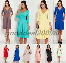 HOT Sexy Women's Candy Color Maternity Dress Tunic 3/4 Sleeve V-Neck Stretchy