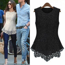 Fashion Women's Sleeveless Lace Chiffon Blouse Shirts Tops US 2-12  6 Colors HOT