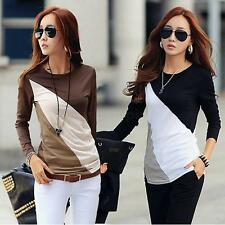 Women's T-Shirt Patchwork Crew Neck Long Sleeves Casual Slim Blouse Tops S-XXL