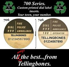 GPO BT 700 SERIES TELEPHONE DIAL LABEL INSERTS PRINTED WITH YOUR TOWN & NUMBER