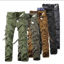 New Casual Mens Military Combat Work Pants Army Cotton Camo Cargo Pants Trousers