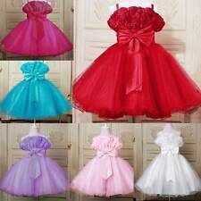 Toddler Birthday Party Bridesmaid Bow Belt Baby Girl Princess Flower Dress 1-6Y