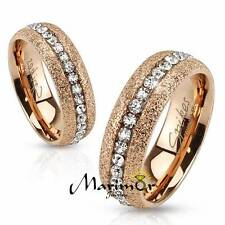 Glittery Rose Gold Ion Plated Stainless Steel Zirconia Wedding Band Ring Sz 5-13