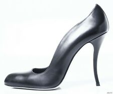 """new $965 MANOLO BLAHNIK """"Nepala"""" black leather curved pumps shoes 41 10 9 SEXY"""