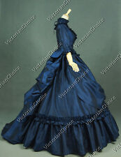Victorian Bustle Blue Period Dress Gown Reenactment Clothing Theatre Quality 330