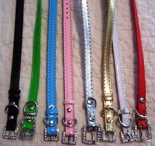 RHINESTONE PET COLLAR - HOLDS 10MM CHARMS/LETTERS - CHOOSE SIZE/COLOR