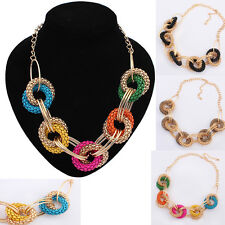 Women Fashion Crystal Statement Bib Chunky Collar Jewelry Pendant Chain Necklace