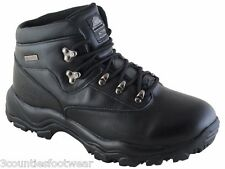 MENS HIKING BOOTS - GENTS WALKING BOOTS - ALL SIZES - WATERPROOF LEATHER BLACK