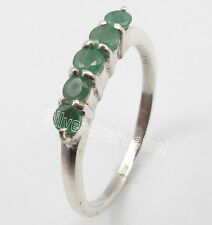 925 Silver Round EMERALD Precious Gems Party Wear Wedding Ring All Sizes 5 to 10