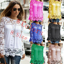 New Womens Ladies Long Sleeve Embroidery Lace Tops Chiffon Shirt Blouse UK 4-20